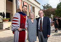 Linda and Tod White '59 pose with economics associate professor Brandon Lehr, this year's recipient of the Linda and Tod White Teaching Prize.<br /> The class of 2022 are welcomed to Occidental College by trustees, faculty and staff in Thorne Hall on Aug. 28, 2018 during Oxy's 131th Convocation ceremony, a tradition that formally marks the start of the academic year and welcomes the new class.<br /> (Photo by Marc Campos, Occidental College Photographer)