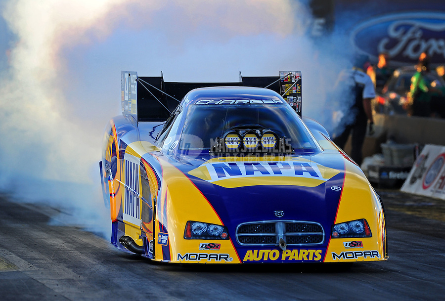 Oct. 14, 2011; Chandler, AZ, USA; NHRA funny car driver Ron Capps during qualifying at the Arizona Nationals at Firebird International Raceway. Mandatory Credit: Mark J. Rebilas-