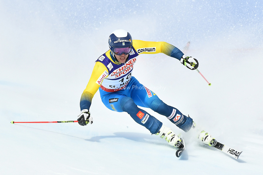 February 17, 2017: Andre MYHRER (SWE) competing in the men's giant slalom event at the FIS Alpine World Ski Championships at St Moritz, Switzerland. Photo Sydney Low