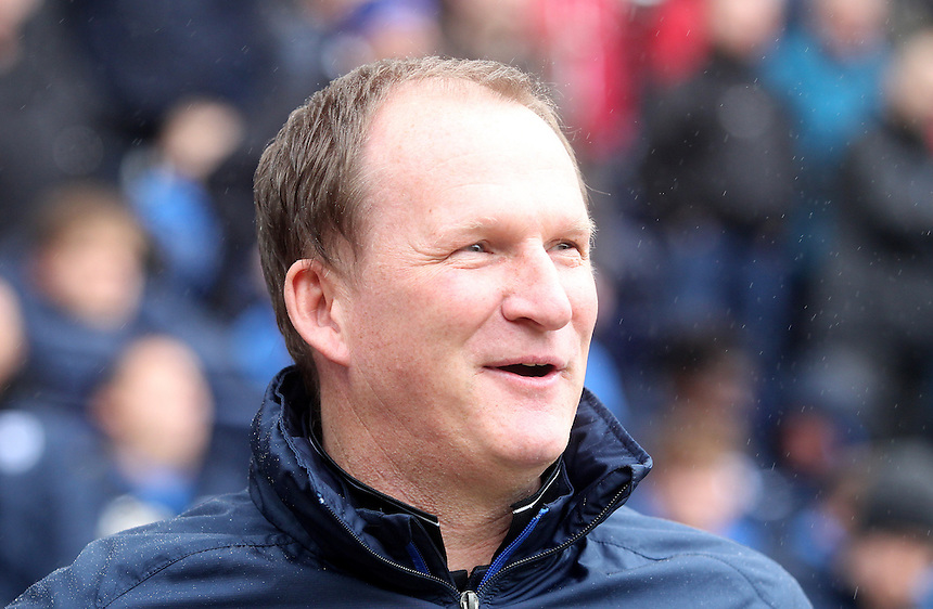 Preston North End's Manager Simon Grayson looks happy<br /> <br /> Photographer Mick Walker/CameraSport<br /> <br /> Football - The Football League Sky Bet League One - Preston North End v Rochdale -  Friday 3rd April 2015 - Deepdale - Preston<br /> <br /> &copy; CameraSport - 43 Linden Ave. Countesthorpe. Leicester. England. LE8 5PG - Tel: +44 (0) 116 277 4147 - admin@camerasport.com - www.camerasport.com
