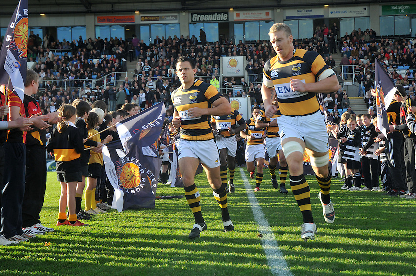 Photo: Tony Oudot/Richard Lane Photography. Exeter Chiefs v London Wasps. LV= Cup. 06/11/2010. .Wasps run out before the game led by captain Rob Webber.