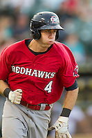 Oklahoma City RedHawks first baseman Matt Duffy (4) runs to first base during the Pacific Coast League baseball game against the Round Rock Express on August 1, 2014 at the Dell Diamond in Round Rock, Texas. The Express defeated the RedHawks 6-5. (Andrew Woolley/Four Seam Images)