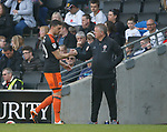 James Wilson of Sheffield Utd is subbed by Chris Wilder manager of Sheffield Utd during the English League One match at  Stadium MK, Milton Keynes. Picture date: April 22nd 2017. Pic credit should read: Simon Bellis/Sportimage