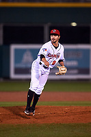 Lansing Lugnuts relief pitcher Joey Pulido (8) during a Midwest League game against the Wisconsin Timber Rattlers at Cooley Law School Stadium on May 2, 2019 in Lansing, Michigan. Lansing defeated Wisconsin 10-4. (Zachary Lucy/Four Seam Images)