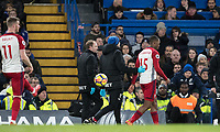 Daniel Sturridge of WBA leaves the field injured after 3 minutes during the Premier League match between Chelsea and West Bromwich Albion at Stamford Bridge, London, England on 12 February 2018. Photo by Andy Rowland.