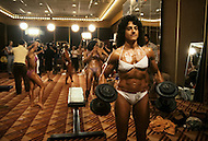 Atlantic City, NJ, April 24, 1981. Laura Combes, backstage at the Women's World Bodybuilding Championships.