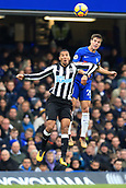 2nd December 2017, Stamford Bridge, London, England; EPL Premier League football, Chelsea versus Newcastle United; Cesar Azpilicueta of Chelsea battles to win a header against Isaac Hayden of Newcastle United