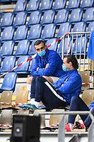 Serdar Dursun (SV Darmstadt 98), Yannick Stark (SV Darmstadt 98) mit Masken auf der Tribuene<br /> <br /> - 23.05.2020: Fussball 2. Bundesliga, Saison 19/20, Spieltag 27, SV Darmstadt 98 - FC St. Pauli, emonline, emspor, v.l. <br /> <br /> Foto: Florian Ulrich/Jan Huebner/Pool VIA Marc Schüler/Sportpics.de<br /> Nur für journalistische Zwecke. Only for editorial use. (DFL/DFB REGULATIONS PROHIBIT ANY USE OF PHOTOGRAPHS as IMAGE SEQUENCES and/or QUASI-VIDEO)