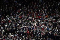 Ohio State fans cheer on the Buckeyes during the first half of the NCAA football game against the Penn State Nittany Lions at Ohio Stadium in Columbus on Oct. 17, 2015. Ohio State won 38-10. (Adam Cairns / The Columbus Dispatch)