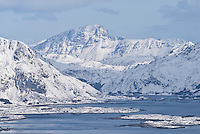 Fresh snow covering the mountains and skerries near Stamsund, Lofoten Islands, Norway