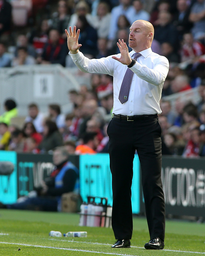 Burnley manager Sean Dyche shouts instructions to his team from the technical area<br /> <br /> Photographer David Shipman/CameraSport<br /> <br /> The Premier League - Middlesbrough v Burnley - Saturday 8th April 2017 - Riverside Stadium - Middlesbrough<br /> <br /> World Copyright &copy; 2017 CameraSport. All rights reserved. 43 Linden Ave. Countesthorpe. Leicester. England. LE8 5PG - Tel: +44 (0) 116 277 4147 - admin@camerasport.com - www.camerasport.com
