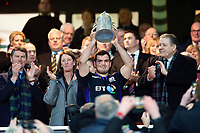 Stuart McInally of Scotland lifts the Calcutta Cup after the match ended in a draw. Guinness Six Nations match between England and Scotland on March 16, 2019 at Twickenham Stadium in London, England. Photo by: Patrick Khachfe / Onside Images