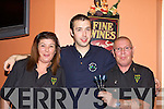 BULLSEYE: Helen O'Neill (Cromane), Peter Fee (Killarney) and Steve Nyler at the Kerry Darts trials in Darby O'Gills, Killarney, on Saturday night.