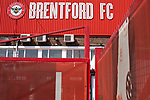 An exterior view of the main entrance to the stadium on Braemar Road pictured before Brentford hosted Leeds United in an EFL Championship match at Griffin Park. Formed in 1889, Brentford have played their home games at Griffin Park since 1904, but are moving to a new purpose-built stadium nearby. The home team won this match by 2-0 watched by a crowd of 11,580.