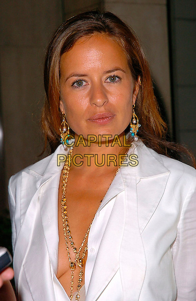 JADE JAGGER.Attends The Art Of Fashion event in association with Breakthrough Breast Cancer, The Dorchester, London, June 9th 2005..portrait headshot low cut gold necklaces earrings jewellery white .Ref: CAN.www.capitalpictures.com.sales@capitalpictures.com.©Can Nguyen/Capital Pictures