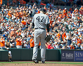 New York Yankees starting pitcher Jordan Montgomery (47) looks at the ground after surrendering a lead-off home run to Baltimore Orioles shortstop Tim Beckham (1) at Oriole Park at Camden Yards in Baltimore, MD on Monday, September 4, 2017.<br /> Credit: Ron Sachs / CNP<br /> (RESTRICTION: NO New York or New Jersey Newspapers or newspapers within a 75 mile radius of New York City)