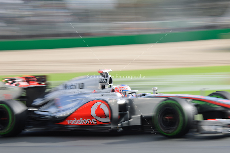 MELBOURNE, 16 March - Jenson Button of the Vodafone McLaren Mercedes Team during free practise session two of the the 2012 Formula One Australian Grand Prix at the Albert Park Circuit in Melbourne, Australia. (Photo Sydney Low / syd-low.com)