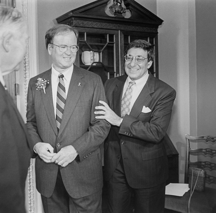 Rep. Sam Farr, D-Calif., and Rep. Leon Panetta, D-Calif., at  their Mock Swear In, on June. 17, 1993. (Photo by Laura Patterson/CQ Roll Call via Getty Images)