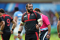 Davit Zirakashvili of Georgia gives a thumbs up to a team-mate. Rugby World Cup Pool C match between Argentina and Georgia on September 25, 2015 at Kingsholm Stadium in Gloucester, England. Photo by: Patrick Khachfe / Onside Images