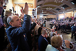 The audience cheering as former British Prime Minister Gordon Brown MP delivering a speech to supporters at an anti-Scottish independence Better Together rally at Community Central Hall, Glasgow. The event was staged by Better Together who were campaigning to prevent an independent Scotland from leaving the United Kingdom. On the 18th of September 2014, the people of Scotland voted in a referendum to decide whether the country's union with England should continue or Scotland should become an independent nation once again.