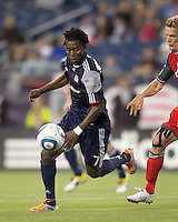 New England Revolution forward Kenny Mansally (7) on the attack. In a Major League Soccer (MLS) match, the New England Revolution tied Toronto FC, 0-0, at Gillette Stadium on June 15, 2011.