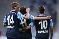 Fussball 2. Bundesliga:  Saison   2012/2013,    4. Spieltag  TSV 1860 Muenchen - MSV Duisburg    31.08.2012 Jubel mit Marin Tomasov, Benjamin Lauth und Moritz Stoppelkamp (v. li., 1860 Muenchen)