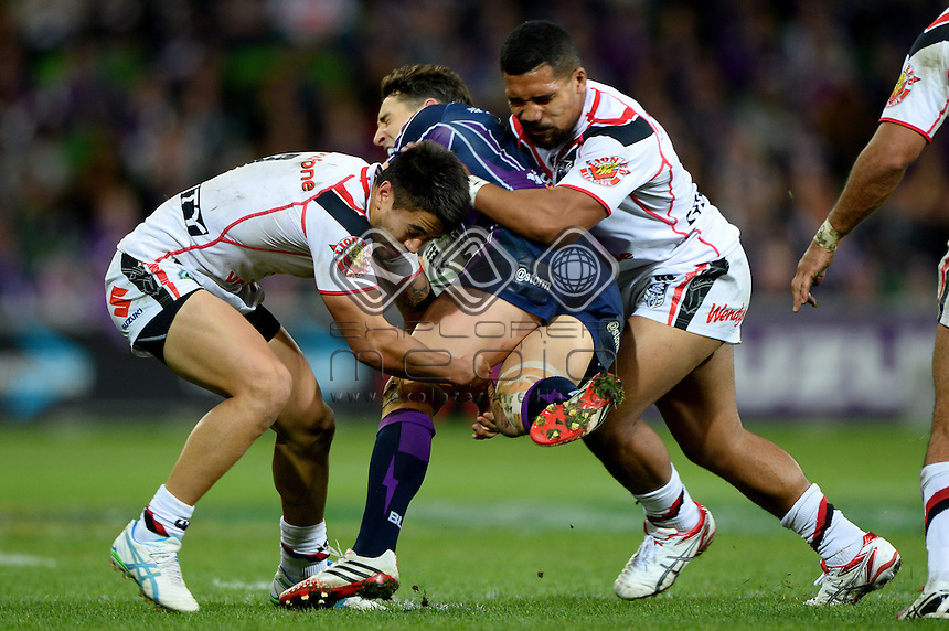 Billy Slater (Melb)<br /> NZ Warriors vs Melbourne Storm<br /> ANZAC day clash - AAMI Park<br /> Rugby League - 2014 NRL <br /> Melbourne AUS Friday 25 April  2014<br /> &copy; Sport the library / Jeff Crow