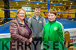 Tralee Boxing Club Kate Taylor v Queen Underwood fight in the Brandon Hotel on Saturday were Nora Cahal Sean O'Connell, Eoin Griffin