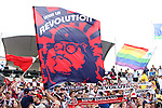 07 December 2014: New England fans waive a banner of a Che Guevara and Peter Griffin hybrid. The Los Angeles Galaxy played the New England Revolution in Carson, California in MLS Cup 2014. Los Angeles won 2-1 in overtime.