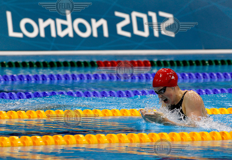 British swimmer Hannah Miley competes in the qualification round of the medley event of the swimming competition at the London 2012 Olympic Games, inside the Aquatics Centre in the Olympic Park in Stratford.