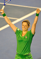 MELBOURNE, 29 JANUARY - Kim Clijsters (BEL) celebrates winning the women's final match against Na Li (CHN) on day thirteen of the 2011 Australian Open at Melbourne Park, Australia. (Photo Sydney Low / syd-low.com)
