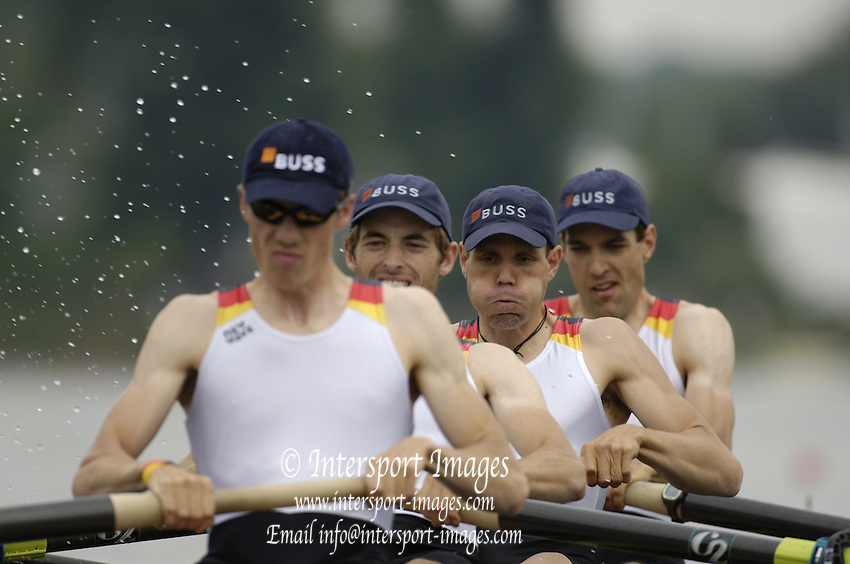 Poznan, POLAND.  2006, FISA, Rowing, World Cup,  GER  LM4- bow  StefanMLECKO, Jeol  EL_QALQILI,  Axel  SCHUSTER,  Bastian  SEIBT, move  away from  the  start, on the Malta  Lake. Regatta Course, Poznan, Thurs. 15.05.2006. © Peter Spurrier   ...[Mandatory Credit Peter Spurrier/ Intersport Images] Rowing Course:Malta Rowing Course, Poznan, POLAND