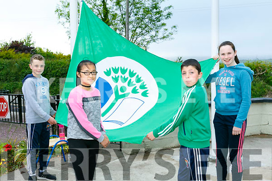 Ballyfinnane National School Raising their  Green Flag on Tuesday. Pictured Green flag Committee l-r Jack Teahan, Frances O'Connor, Declan O'Connor and Laura Corbett