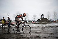 Wout Van Aert (BEL/Vastgoedservice-Golden Palace) leading the way<br /> <br /> Azencross Loenhout 2014