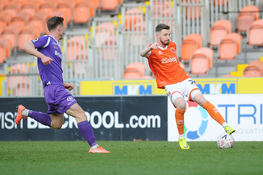 Blackpool's James Husband under pressure from Maidstone United's Cameron James<br /> <br /> Photographer Kevin Barnes/CameraSport<br /> <br /> Emirates FA Cup Second Round - Blackpool v Maidstone United - Sunday 1st December 2019 - Bloomfield Road - Blackpool<br />  <br /> World Copyright © 2019 CameraSport. All rights reserved. 43 Linden Ave. Countesthorpe. Leicester. England. LE8 5PG - Tel: +44 (0) 116 277 4147 - admin@camerasport.com - www.camerasport.com