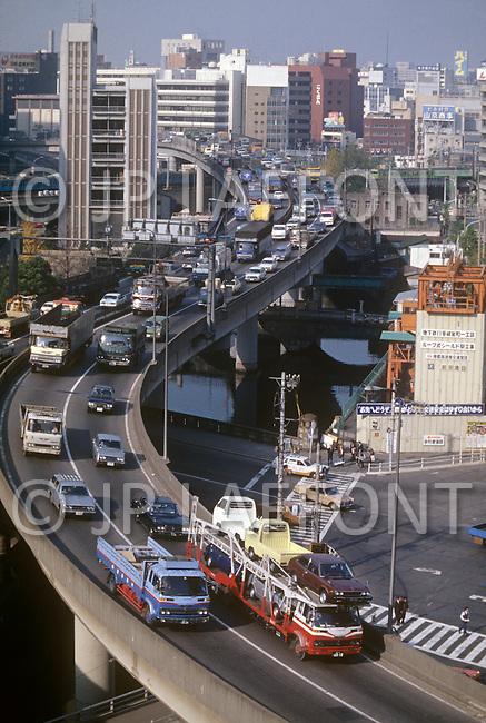 October, 1980. Tokyo, Japan. Elevated highways of Tokyo.