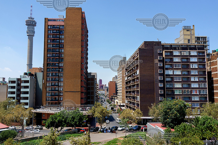 A view along Pretoria Street in Hillbrow, one of the county's most notorious neighbourhoods. Characterised by poverty and over-crowding and rife with drugs, the area has yet to experience the gentrification that has come to some of its neighbouring inner-city suburbs.