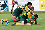 Leme Tuele gets driven to ground by Gregor Christie and Sione Fifita. Counties Manukau Premier Club rugby game between Pukekohe and Waiuku, played at Colin Lawrie Fields, Pukekohe on Saturday April 14th, 2018. Pukekohe won the game 35 - 19 after leading 9 - 7 at halftime.<br /> Pukekohe Mitre 10 Mega -Joshua Baverstock, Sione Fifita 3 tries, Cody White 3 conversions, Cody White 3 penalties.<br /> Waiuku Brian James Contracting - Lemeki Tulele, Nathan Millar, Tevta Halafihi tries,  Christian Walker 2 conversions.<br /> Photo by Richard Spranger
