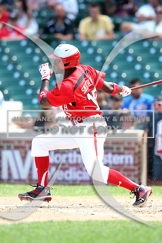 Dwight Smith Jr. (15) during the 2010 Under Armour All-American Game powered by Baseball Factory at Wrigley Field in Chicago, New York;  August 14, 2010.  Photo By Mike Janes/Four Seam Images