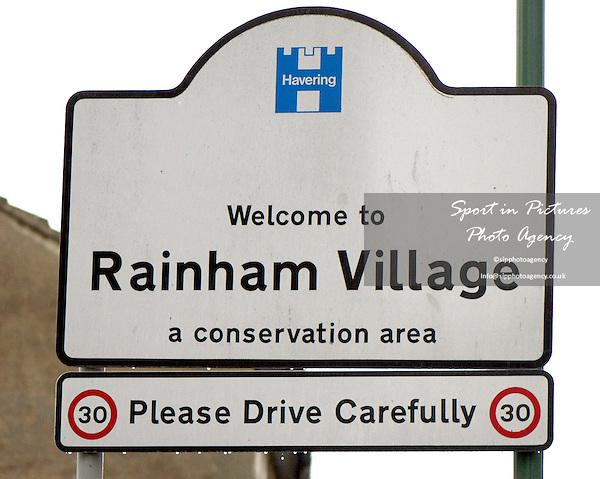 Rainham Village road sign.