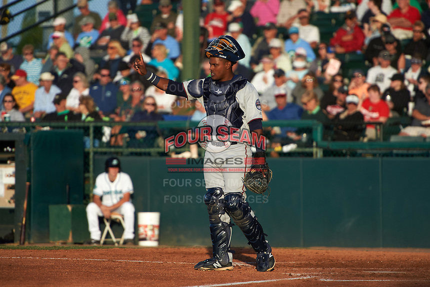 Fort Myers Miracle catcher Brian Navarreto (23) during a game against the Daytona Tortugas on April 17, 2016 at Jackie Robinson Ballpark in Daytona, Florida.  Fort Myers defeated Daytona 9-0.  (Mike Janes/Four Seam Images)