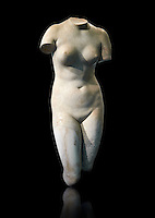 "Torso of Venus (Greek goddess of love), 2nd century Roma copy found near Florence. This sculpture depicts Aphrodite in the typical pose known as the Modest Aphrodite style and is a copy of a lost 4th century BC Aphrodite of Cnidos sculpture by Athenian sculpture Praxiteles.This copy follows the style of the late Hellanistic type known as the ""Medici Venus"". Altes Museum Berlin"