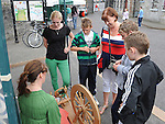 Aine Dunne gives a demonstration in spinning wool at the open day at Millmount Square. Photo: Colin Bell/pressphotos.ie