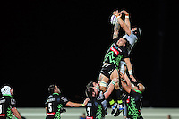 Luke Charteris of Bath Rugby competes for the ball at a lineout. European Rugby Challenge Cup match, between Pau (Section Paloise) and Bath Rugby on October 15, 2016 at the Stade du Hameau in Pau, France. Photo by: Patrick Khachfe / Onside Images