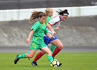 Aniela Jensen crosses during the National Women's League football match between Central and Auckland at the Memorial Park in Palmerston North, New Zealand on Sunday, 5 November 2017. Photo: Dave Lintott / lintottphoto.co.nz