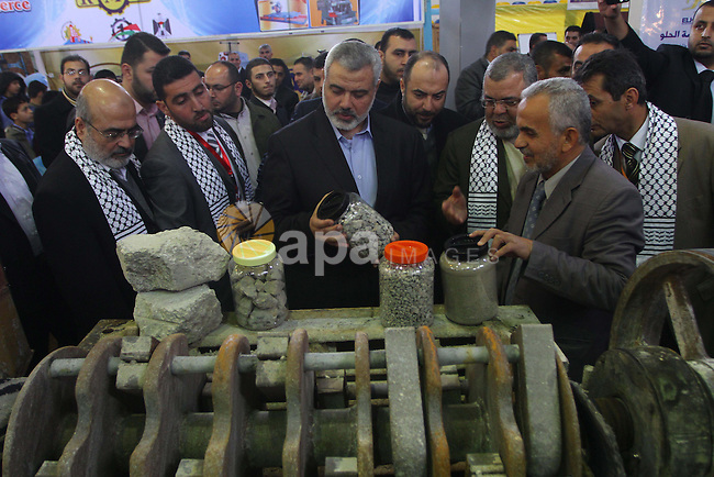 Palestinian Prime Minister in Gaza Strip, Ismail Haniyeh attends the opening of the Palestinian industries exhibition in Gaza City on Jan. 16, 2011.  Photo by Ashraf Amra