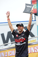 Sept. 16, 2011; Concord, NC, USA: NHRA pro stock motorcycle rider Matt Smith during qualifying for the O'Reilly Auto Parts Nationals at zMax Dragway. Mandatory Credit: Mark J. Rebilas-US PRESSWIRE