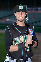 Kane County Cougars second baseman Danny Lockhart (7) poses for a photo before a game against the Peoria Chiefs on June 2, 2014 at Dozer Park in Peoria, Illinois.  Peoria defeated Kane County 5-3.  (Mike Janes/Four Seam Images)