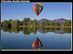 Hot air balloon, Twin Lakes Reservoir, Boulder, Colorado. .  John leads private photo tours in Boulder and throughout Colorado. Year-round.