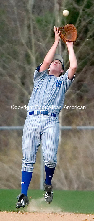 BURLINGTON, CT- 23 APRIL 07- 042307JT01-<br /> FOR ACTION MAN:<br /> Lewis Mills' Austin Atkinson at Monday's game against Wamogo at Lewis Mills.<br /> Josalee Thrift Republican-American
